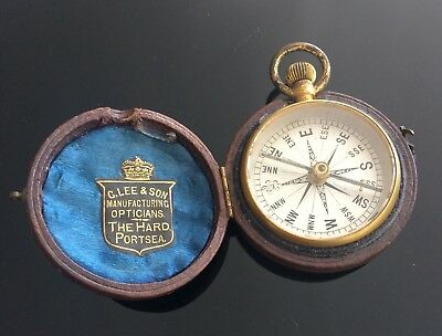 Very High Quality Victorian Pocket Watch Size Compass In Fitted Leather Case