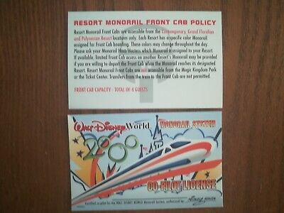 "Walt Disney World Millennium edition Monorail Co-Pilot License ""Never Issued"""