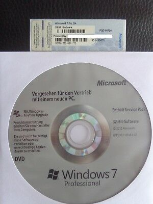 MS Microsoft Windows 7 Professional DVD 32Bit Vollversion SP1 +Lizenz OEM 7 Pro