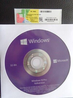 MS Microsoft Windows 10 Pro 32 ,DVD,Deutsch (OEM)Key Aufkleber