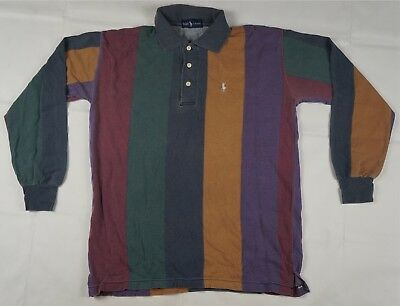 8fe39246f8cd Rare Vintage POLO RALPH LAUREN Striped Color Block Pony Rugby Shirt 90s  Pastel