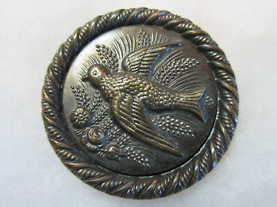 Nice Large Antique/ Victorian Metal Bird Picture Button