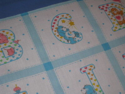 Vtg AM. GREETINGS 1983 CARE BEARS A-Z  ALPHABET QUILT SQUARE CRAFT FABRIC PANEL