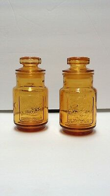 """Vintage Wheaton Amber Glass Spice Jars With Lids Fish Heart Design 4.5"""" Tall"""