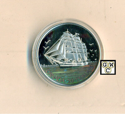 2005 Three Masted Ship Prf $20 Silver 1oz .9999 Hologram(Tall Ships)(11633)OOAK