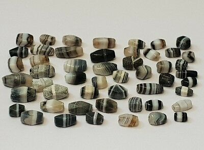 51 Ancient Rare Indo-Tibetan Banded Agate Faceted Beads