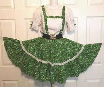 Square Dance Dress  1 Piece, Green With Tiny Red & Yellow Posies M