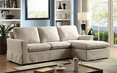 SIMPLE CHIC MODERN Sectional Sofa Beige Chaise Loveseat Linen Fabric Couch  Home