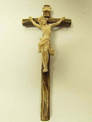 Small Wood Carved Crucifix from Oberammergau, Germany - Stained Cross - Wooden