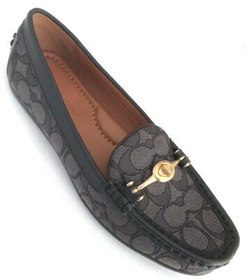 678281140d2 Coach Womens TLock Greenwich Signature Loafers Driver Shoes Black 8.5 NEW  IN BOX