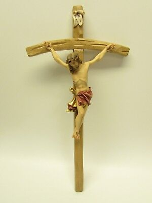 Wooden Crucifix Carved in Oberammergau, Germany - Beautifully Hand Painted