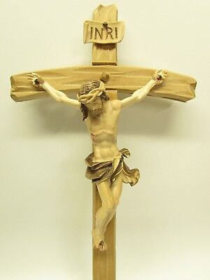 Carved Wooden Crucifix - Oberammergau, Germany - All Wood - Tone Stained