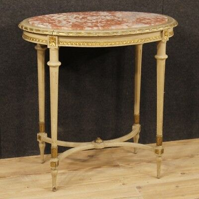 Side table Italian living room furniture lacquered golden wood style Louis XVI