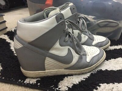newest 1ac5a bb2d8 Nike Women s Dunk Sky High Canyon Grey 528899-100 Wedge sneakers Sz 10