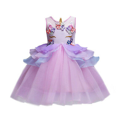 6db4ec8bf66 Baby Girls Kid Unicorn Costume Princess Tutu Flower Dress Party Birthday  Dresses