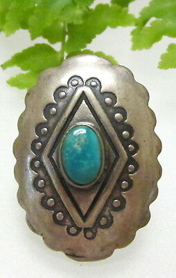 Nice Sterling & Turquoise Concho Button D80