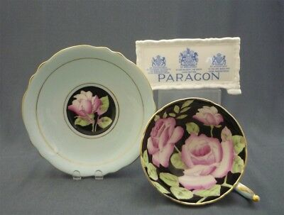 Wide Black Hand Painted Paragon England Pink Roses Bone China Tea Cup & Saucer