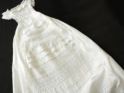 ~EXQUISITE~ FRENCH Baby Christening Gown VICTORIAN Embroidery BRODERIE ANGLAIS