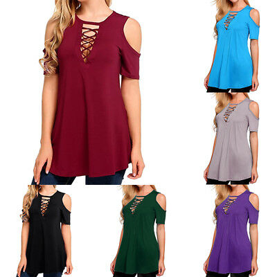 b18fd37551b Summer Women's Sexy V Neck Lace UP T-Shirt Short Sleeve Loose Top Casual  Blouse