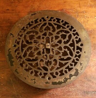 Antique Vintage Complete Cast Iron Round Louvered Floor Heat Vent Grate Register