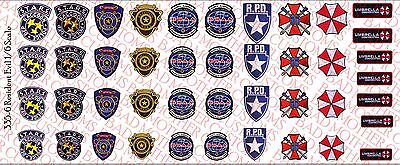 Waterslide Decals 1//12 Scale Decals: Resident Evil Raccoon PD Umbrella etc