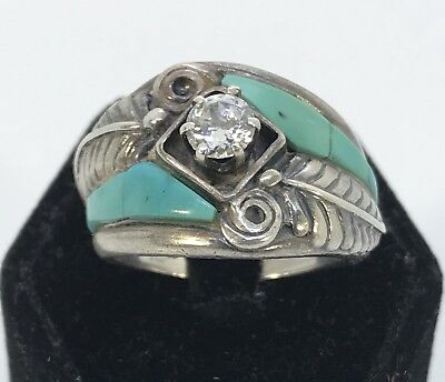 Size 10 Turquoise Inlaid Ring Artist Signed!