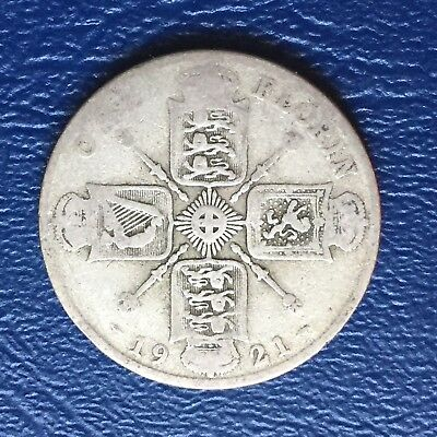1921 UK Great Britain One Florin Silver - Well Worn
