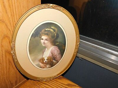 King Charles Spaniel Antique Picture Original Frame Victorian Lady