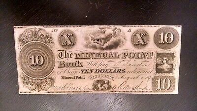 Scarce 1839 $10 The Mineral Point Bank Of Wisconsin Obsolete Note  #10