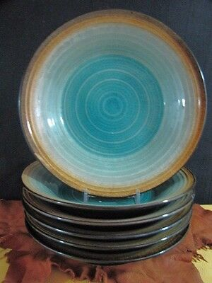 "Fitz and Floyd 7 Gourmet ""Palisades"" Turquoise Desert Salad Bread Plates 9 1/2"""