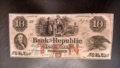 SCARCE 1800's $10  BANK OF THE REPUBLIC RHODE ISLAND OBSOLETE NOTE F/VF