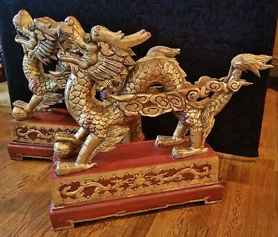 Pair Large Antique Vintage Carved Wood Chinoiserie Dragon Dog Statue Gold Gilt