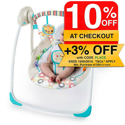 Bright Stars Petite Jungle Portable Swing/Recline Seat Baby/Infant Music/Toy Bar