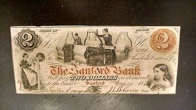 SCARCE 1860's $2 SANFORD BANK OF MAINE FULLY SIGNED, AND ISSUED