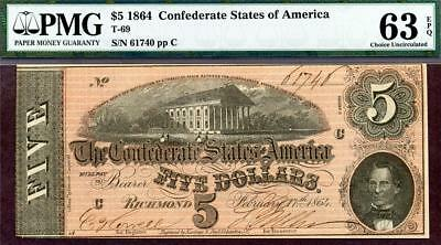 HGR T-69 1864 $5 Confederate ((Great History)) PMG CHOICE UNC 63EPQ