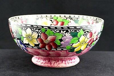 Stunning Maling Clematis Pedestal Bowl in Rose C1940's Painted by Nancy Smith