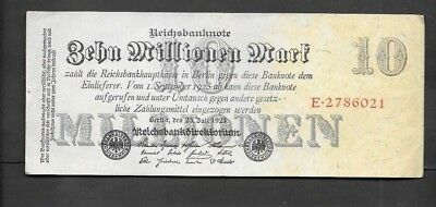 Germany 10 Millionen mark Circulated Banknote 1923,