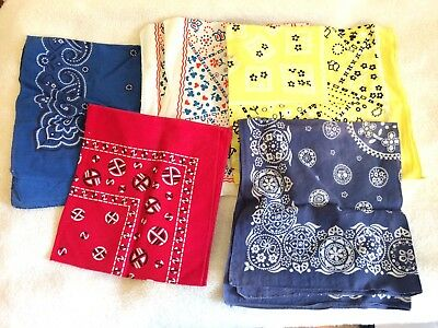 Lot of 5 Vintage Bandana Handkerchief Fast Color WHITE BLUE RED YELLOW