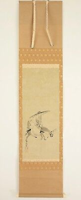 "Japanese Hanging Scroll : KANO NAONOBU ""Wise Man on Donkey""  @r496"