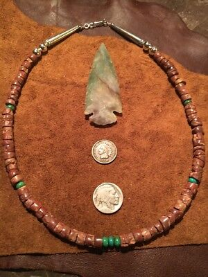OLD Turquoise TRADE Bead Bauxite Pipestone Heishi NECKLACE Sterling Silver Beads