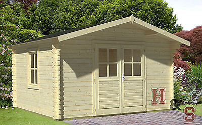34mm gartenhaus 3 8x3 8 m inklusive montage aufbau ger tehaus blockhaus holzhaus eur. Black Bedroom Furniture Sets. Home Design Ideas