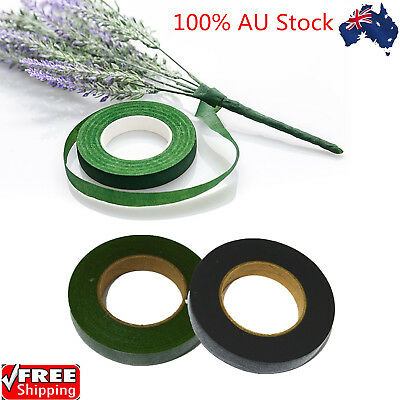 Florist Stem Tape Wire Floral Work Buttonholes Craft Floristry Dark Green& Black