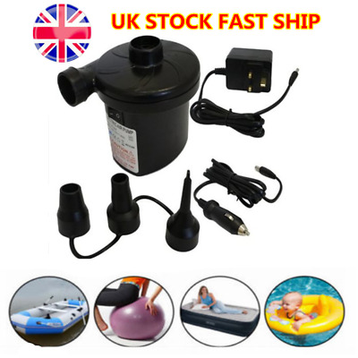 240V 2in1 Electric Air Pump Inflator For Inflatables Camping Bed Pool 12V Car UK