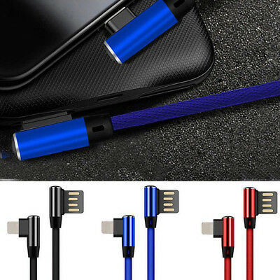 Braided 2.4A Fast 90 Degree Elbow Type-C Lightning Cable For iPhone Samsung AU