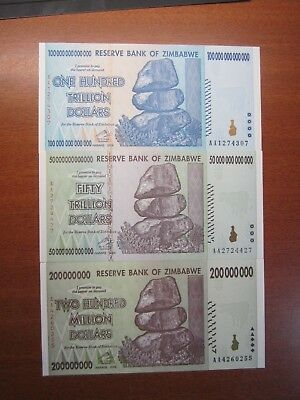 Zimbabwe One Hundred Trillion & Fifty Trillion Dollars & Two Hundred Million