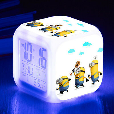 Minions Alarm Clock LED 7 Color Change Decor Night light Cosplay