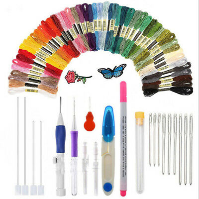 Embroidery Pen Punch Needle Kit Craft Tool 56 Colors Threads Cloth Art Craft