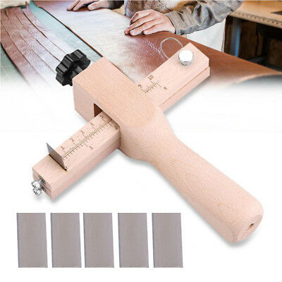 Wooden Adjustable Strip Strap Cutter Tool Leather Hand Cutting Tools with Blades