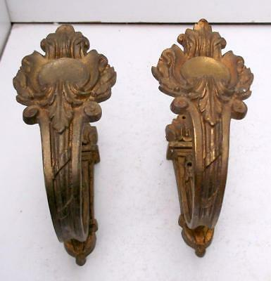 Pair of Antique French Bronze Curtain Tie Back Hooks / Wall Hooks