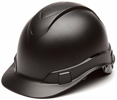 Pyramex Ridgeline Cap Style Hard Hat, 4 Point Ratchet Suspension, Black Graphite